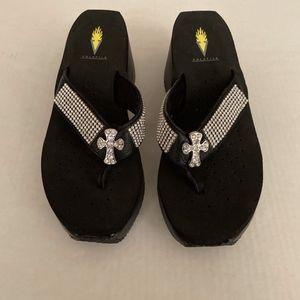 Volatile Crystal Cross Sandal